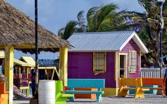 Colorful beachfront Ambergris house in Key Belize