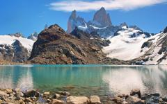 Lake with view of Fitz Roy Mountain in Patagonia.