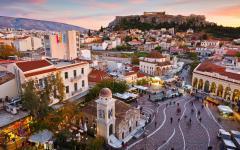View of the Acropolis across the Monastiraki district, Athens.