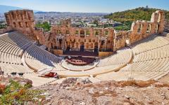An empty Herodion Theater in Athens, Greece