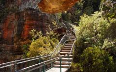 stairs leading up to jamison valley in the katoomba mountains