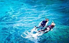 Australia Great Barrier Reef two snorkelers