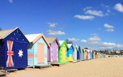 australia melbourne brighton colorful beach huts on beach