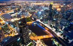 australia melbourne city lights at night