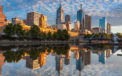 melbourne city buildings reflected in the yarra river