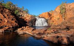 australia waterfall rocks kakadu national park