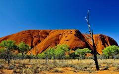 australia sanstone rock blue sky uluru