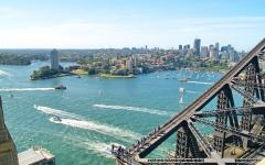 australia sydney aerial view of harbor and bridge