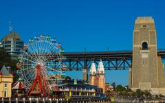 australia sydney harbor bridge and luna park