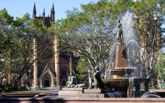 a statue and fountain in hyde park sydney