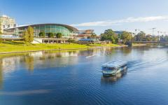 a boat on the river torrens in downtown adelaide