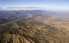 aerial view of the abc mountains part of the flinders range