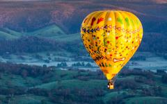 Hot air balloon ride over Australian wine country.
