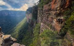 australia blue mountains rockface and valley