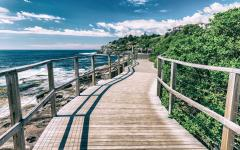 a wooden walkway towards bondi beach on a sunny day