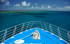 bow of ship near to the great barrier reef australia