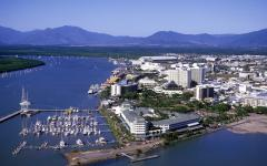 aeria view of cairns marina with mountains in north queensland