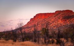 the macdonnell ranges at sunset in the northern territories australia