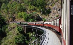 australia queensland scenic train crossing bridge