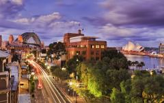 australia sydney at dusk bridge opera house car headlights city lights