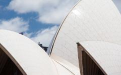 a close up of the sails on the sydney opera house