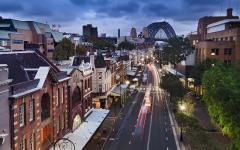 Australia houses on street bridge at night