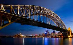 sydney bridge at night with the bright city lights