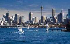 panoramic view of sydney harbor with boats on the water