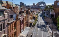 australia sydney elevated view of a street and houses and bridge