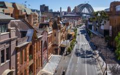 aerial view of george street sydney looking towards the bridge