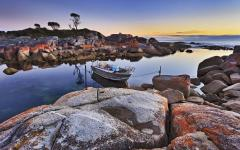 the bay of fires at sunset