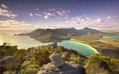 overlooking wineglass bay in freycinet national park