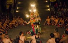 Traditional Balinese women performing kecak fire dance.