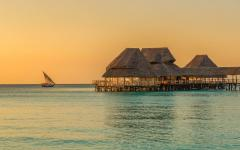 A bar and cafe on the water in Zanzibar.