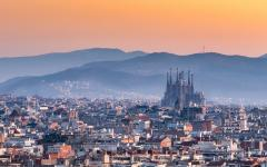 spain barcelona la sagrada familia and barcelona city at sunrise