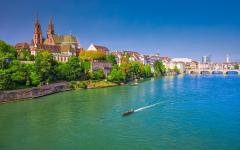 View of Basel with the Munster Cathedral and the Rhine River, Switzerland.