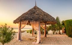 A Zanzibar beach at sunset.