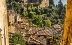 The cobbled streets and fortress of Montalcino in Tuscany, Italy.