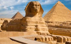 The Great Sphinx and the Pyramids of Giza.