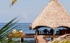 Relax on a private dock in Belize.