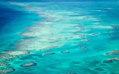Aerial view of barrier coral reef in San Pedro Belize