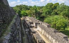 A closeup view of Mayan ruins in Belize.