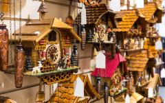 Vintage cuckoo clocks at Lake Titisee Neustadt in Black Forest, Germany.