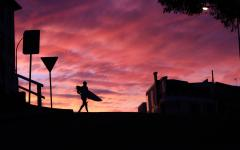 the silhouette of a surfer at sunset on bondi beach