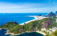 aerial view of the beaches in rio de janeiro