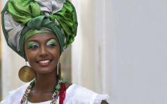 beautiful woman dressed in traditional baiana attire