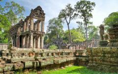 Temple ruins at Angkor Wat.