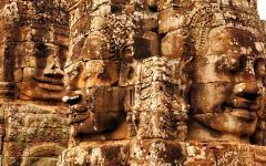 Carved faces of Bayon temple at Angkor Wat.