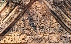 Detailed temple carvings in Siem Reap.