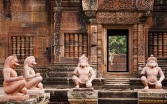 four temple statues in cambodia